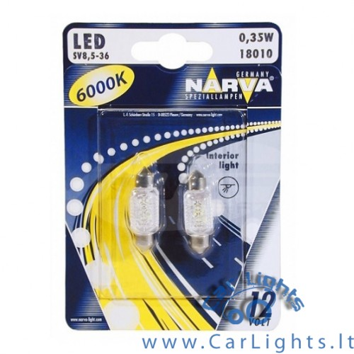 NARVA Led C5W 6000K 36mm Lemputės