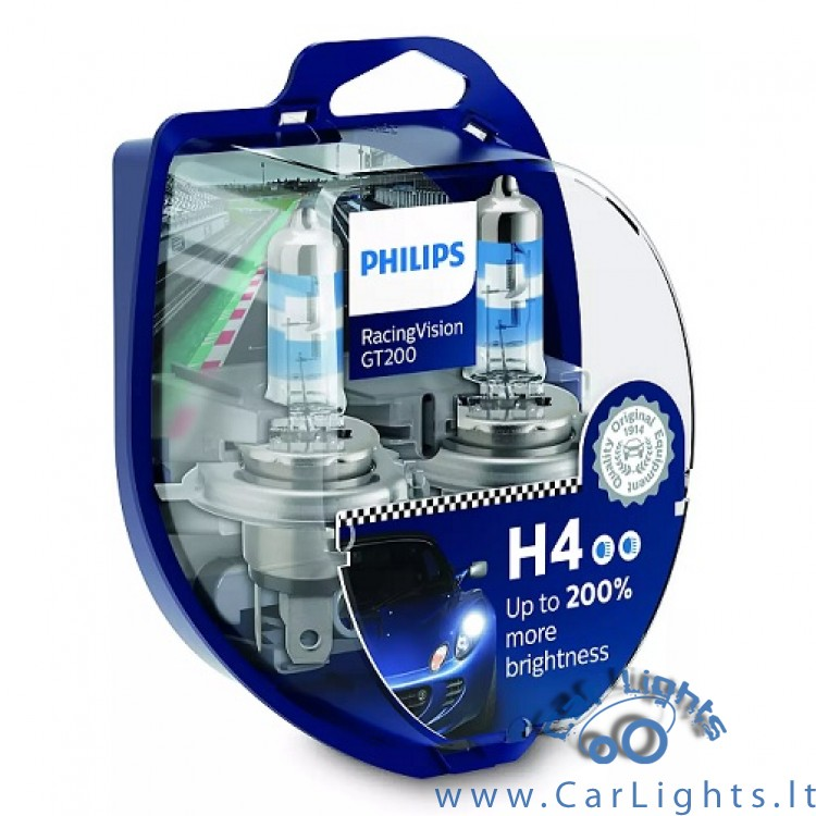 PHILIPS H4 Racing Vision GT200 Lemputės
